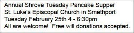 2-25 Pancake Supper, St. Luke's, Smethport, PA