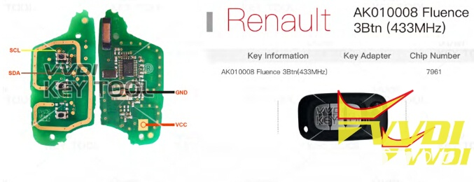 Renew Renault Fluence 433mhz Remote With Vvdi Key Tool