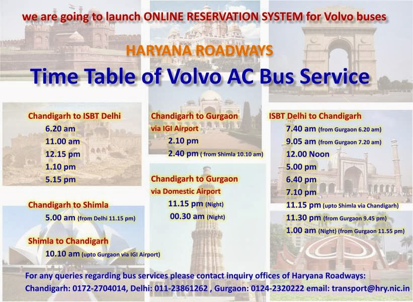 Bus Timings and Bus Schedule : Haryana Roadways Bus Timing and