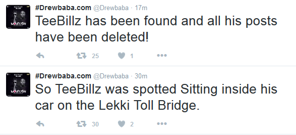 How Teebillz nearly commited suicide this morning - As he tried to jump off the Lekki-Ikoyi toll bridge