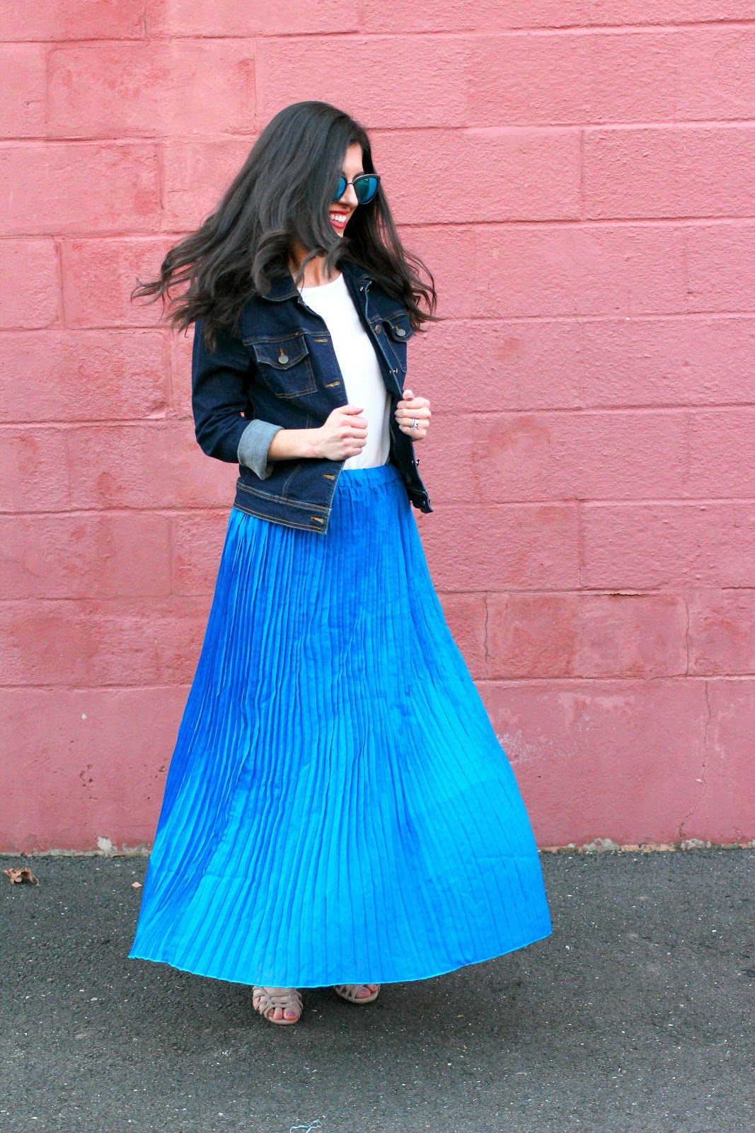 Beautifully Candid Maxi Pleated Skirt And Denim Jacket