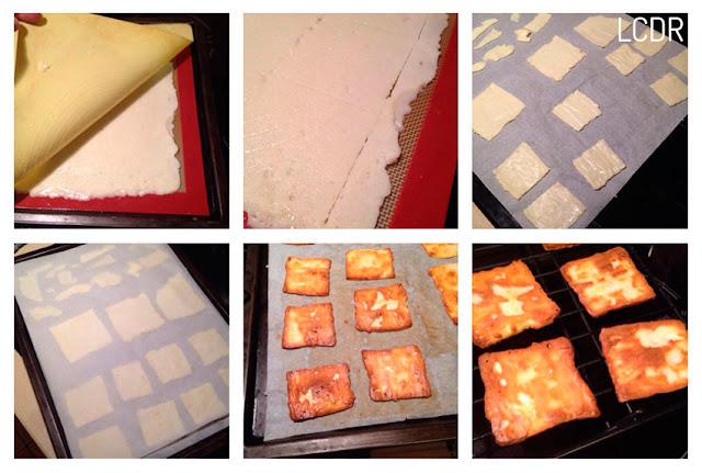 Receta de milhojas de galletas de queso manchego con mousse de pisto y huevo poché 05