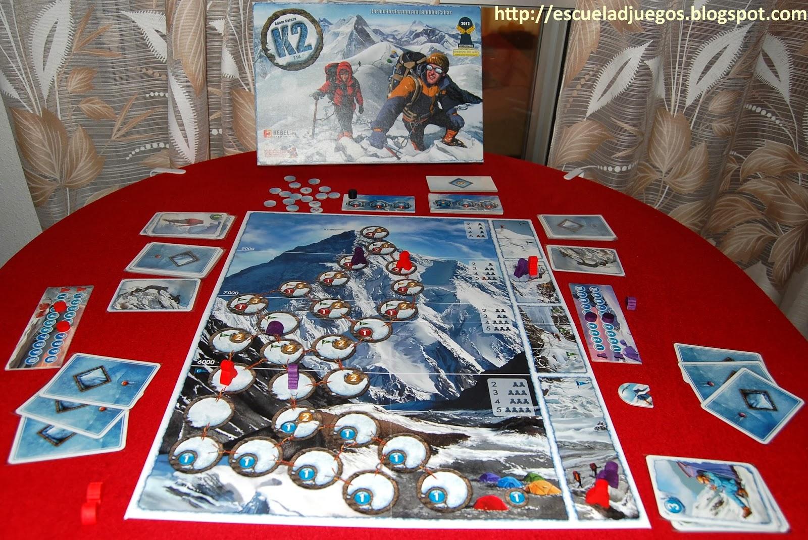 Reseña de K2, juego de mesa sobre escalada, para hasta 5 jugadores publicado por Rebel.pl
