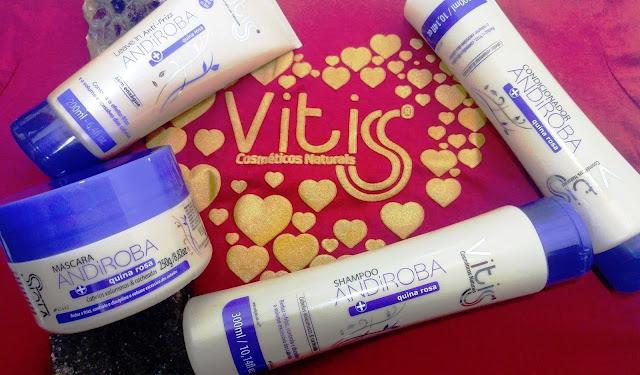 Vitiss Cosméticos Naturais,Andiroba+Quina Rosa,cabelos cacheados e volumosos,sem frizz,cabelos,resenhas,Ccndicionador,shampoo,mascara de hidratação,leave