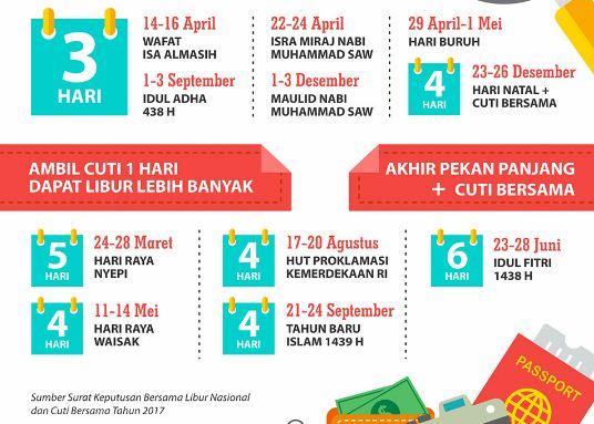 Jadwal Lengkap Libur & Cuti dalam Kalender 2017