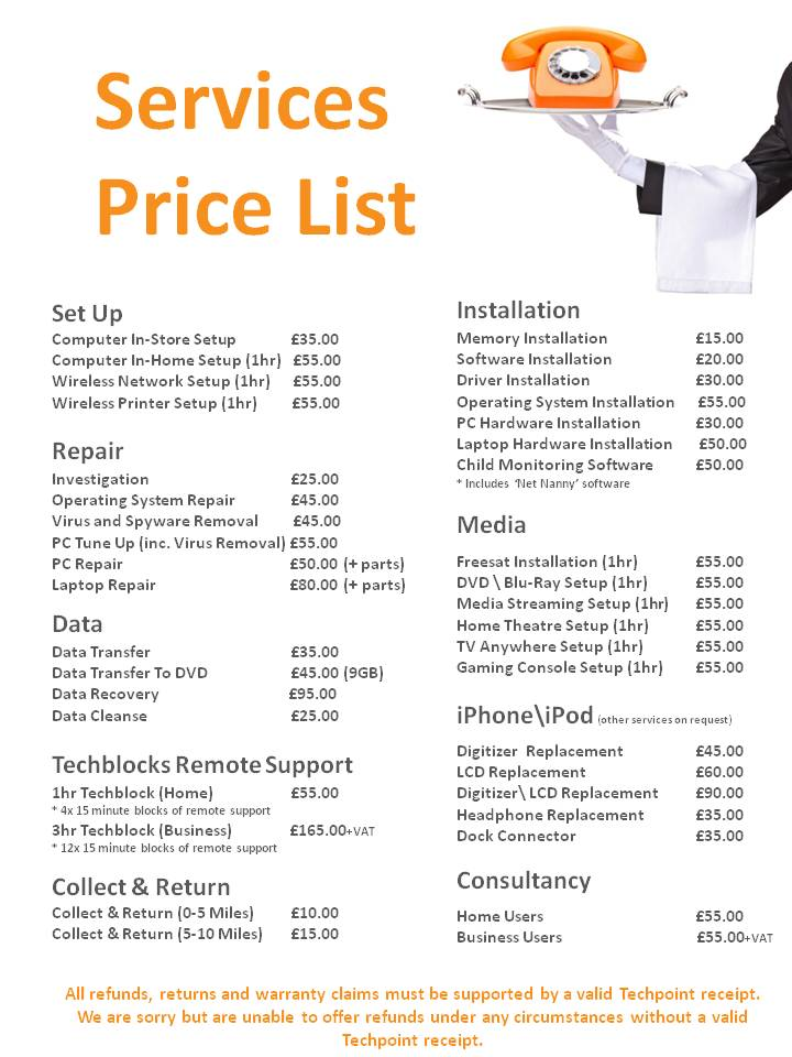 it services it services price list