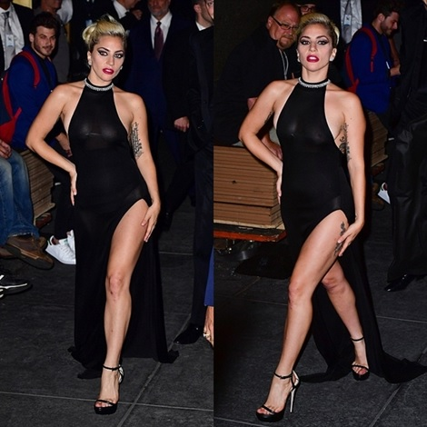 Braless Lady Gaga Flaunts Nipples and Shows off Black Panties in Revealing Dress During Night Out (Photos)