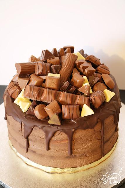 Layer Cake Chocolat au Lait Framboise Chocolat Kinder Recette Facile Anniversaire Gâteau