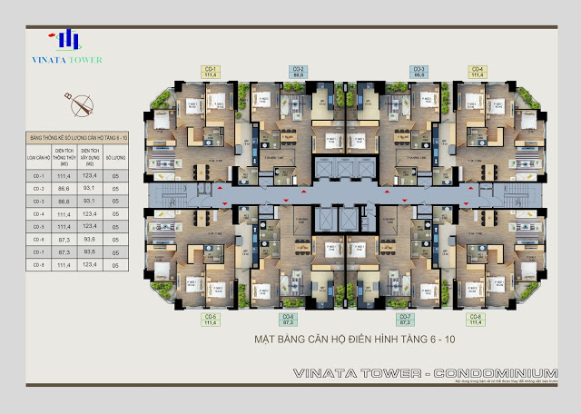 Mặt bằng căn hộ chung cư Vinata Tower
