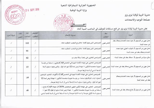 اعلان عن توظيف عمال مهنيين بمديرية التربية لولاية تيزي وزو سبتمبر 2016