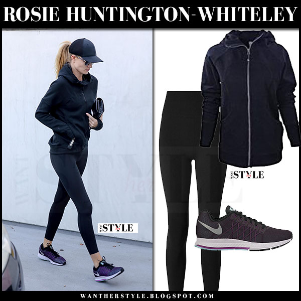 Rosie Huntington-Whiteley in black zip lululemon scuba hoodie, black leggings lululemon and purple sneakers nike pegasus what she wore