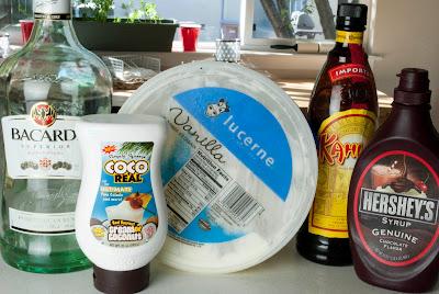 brown lady cocktail, rum, kahlua, coffee liqueur with rum, cream of coconut, vanilla ice cream