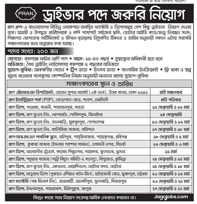 Pran Group Driver Job Circular 2019