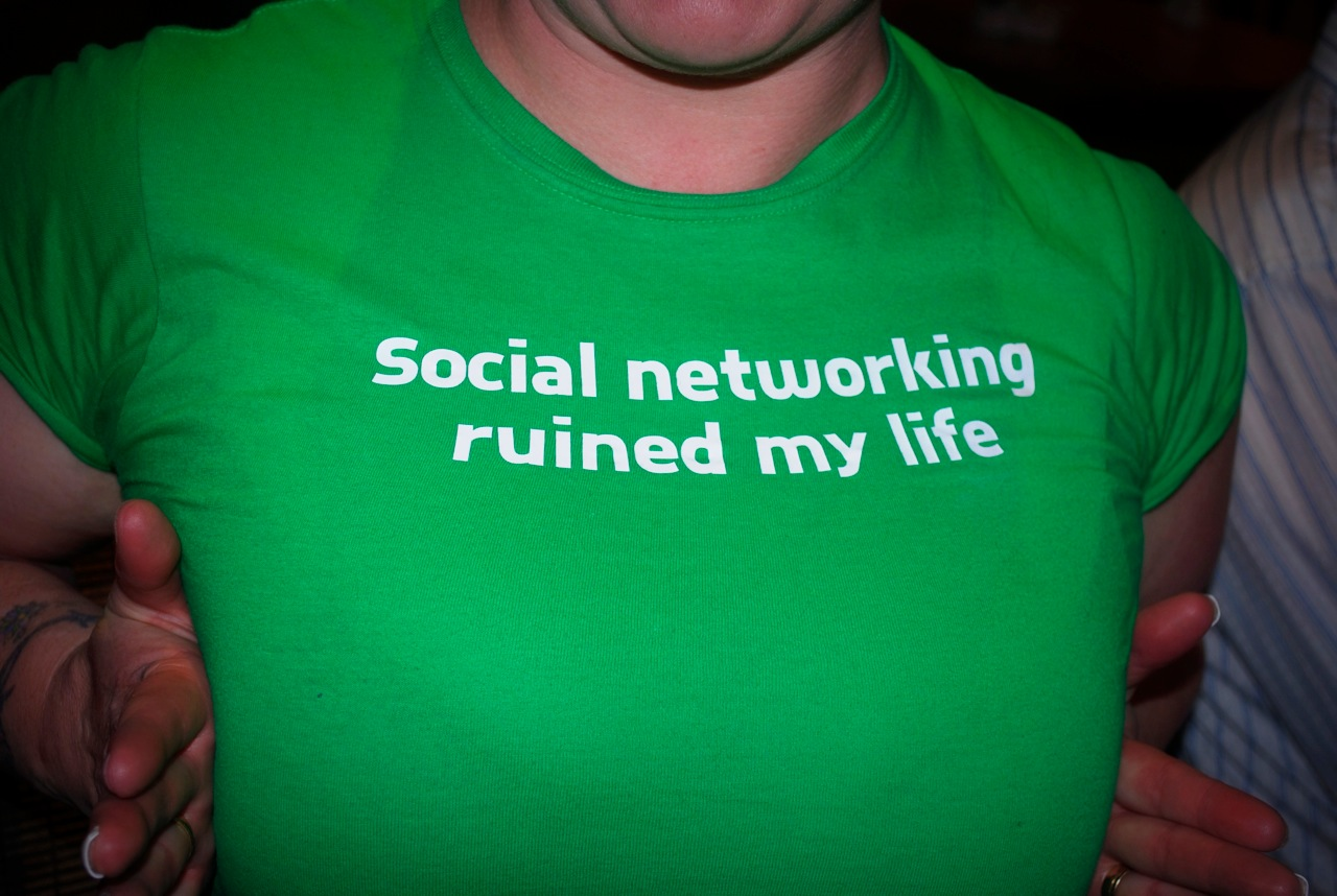 social networking ruined my life green tshirt