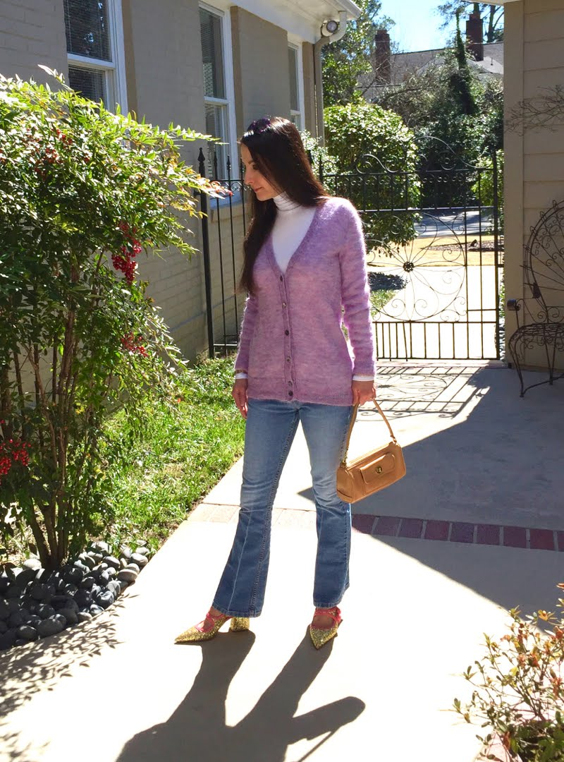 Lavender and Blue Jeans Outfit, stepping one foot to the side.