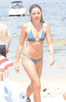 Sophie Tieman in Blue Bikini on the Beach in Valcluse
