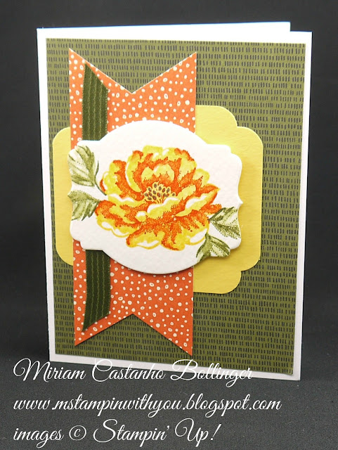 Miriam Castanho-Bollinger, #mstampinwithyou, stampin up, demonstrator, ccmc, all occasions card, botanical gardens dsp, sweet li'l things dsp, stippled blossoms, big shot, deco labels collections, curvy corner trio punch, banner triple punch, su