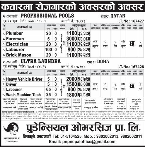 Jobs For Nepali In Professional Pools, QATRA, Salary -Rs.88,000/