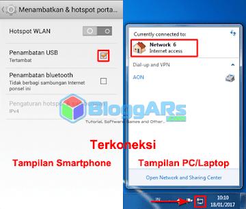 Internet dari Smartphone Android Terhubung ke PC/Laptop