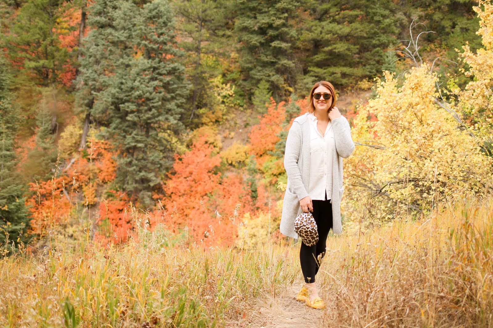 fall in utah, mountains leaves changing colors, gap hooded cardigan sweater