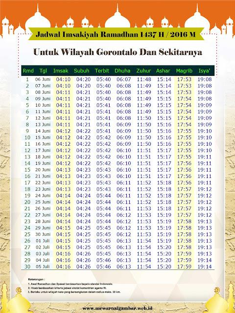 Jadwal Imsakiyah Gorontalo 2016 1437 H