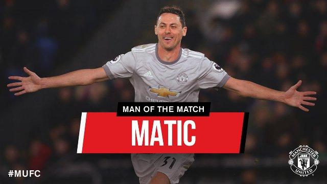 Cetak Gol Perdana, Nemanja Matic Man of the Match Palace vs Man United