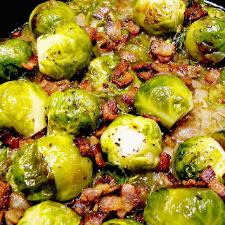 Brussels Sprouts with Bacon and Shallots from www.bobbiskozykitchen.com