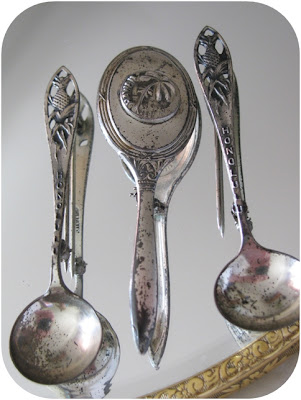 vintage 1940s silver hawaii spoon brooch and silver hawaii hand mirror brooch