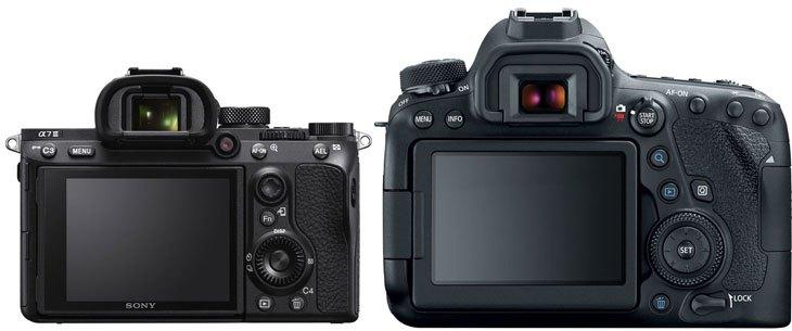 Сравнение Sony A7 III и Canon EOS 6D Mark II, вид сзади
