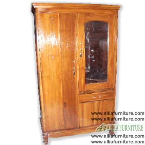 lemari pakaian kayu jati 2 pintu kaca sk
