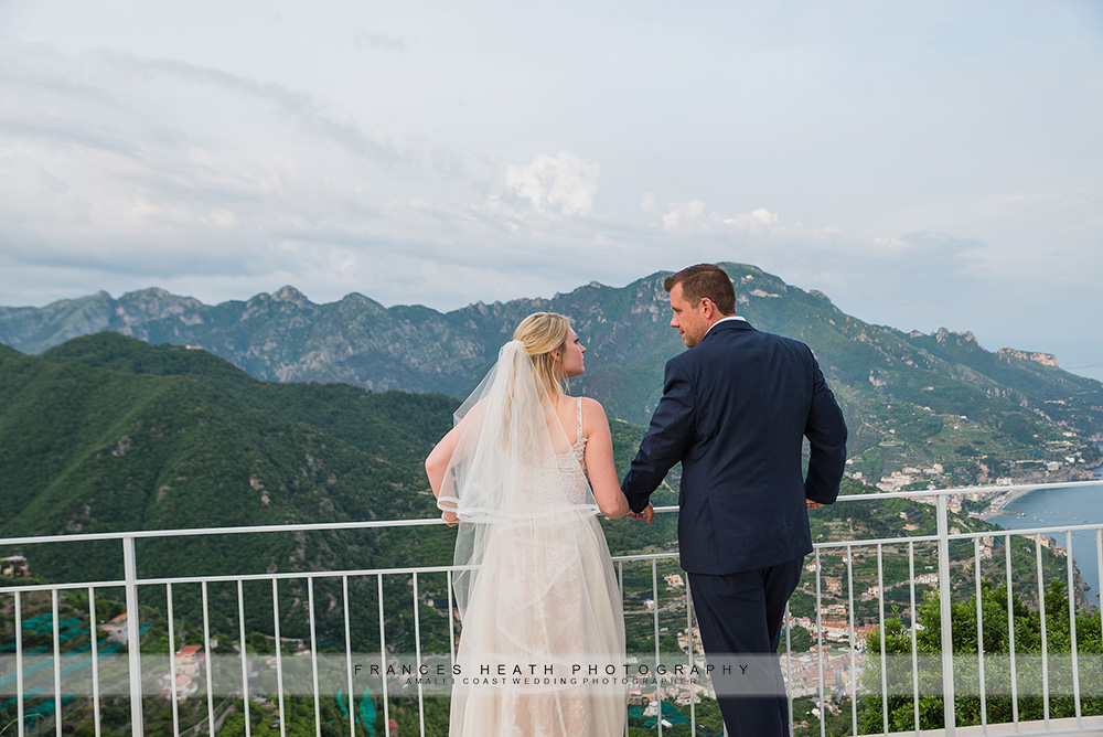 Bride and groom with Ravello view