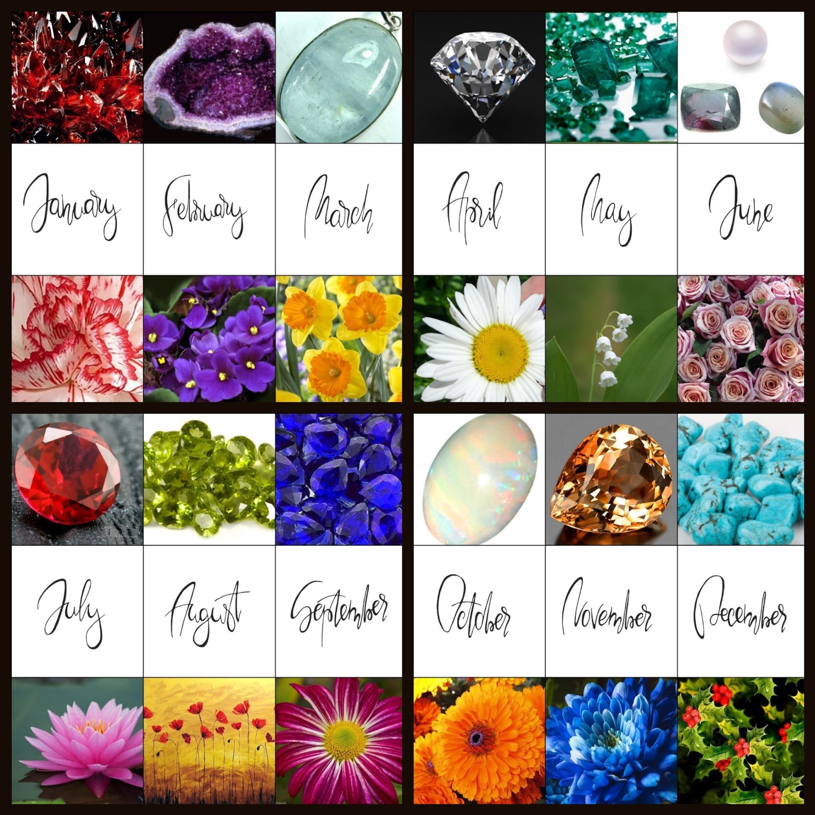 Nail Art For Every Month Of The Year Featuring Birthstones And