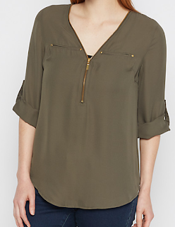 rue21 olive green zip-yoke blouse