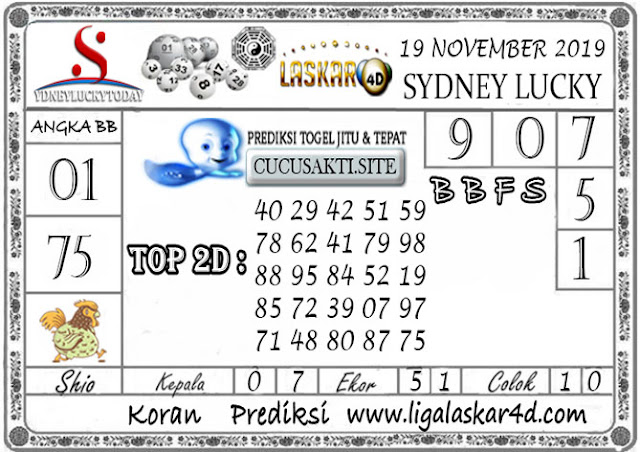 Prediksi Sydney Lucky Today LASKAR4D 19 NOVEMBER 2019