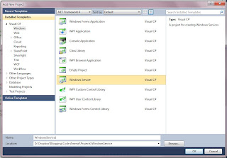 Windows Service Project in Visual Studio 2010