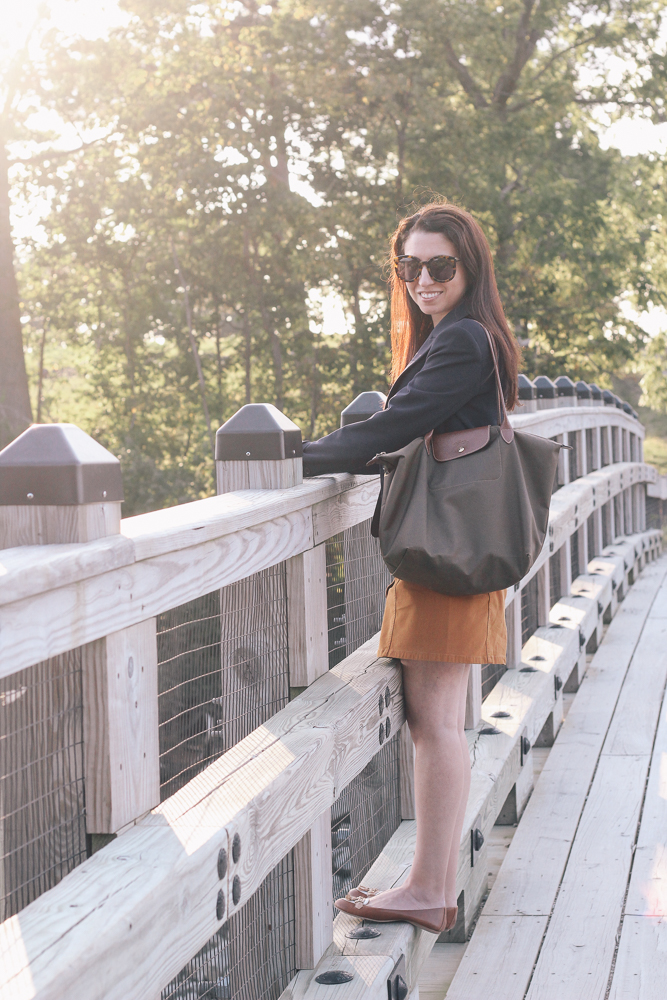 Boston Life & Style Blogger, The Northern Magnolia, is featuring one of her favorite fall essentials, a navy blazer.