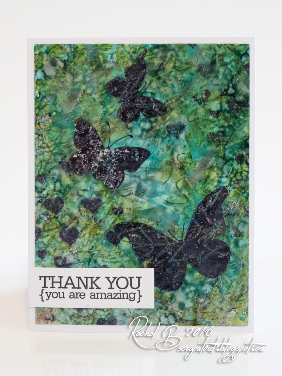 Scrapatout - Handmade card, Impression Obsession, Alcohol ink, Yupo, Butterflies, Thank you