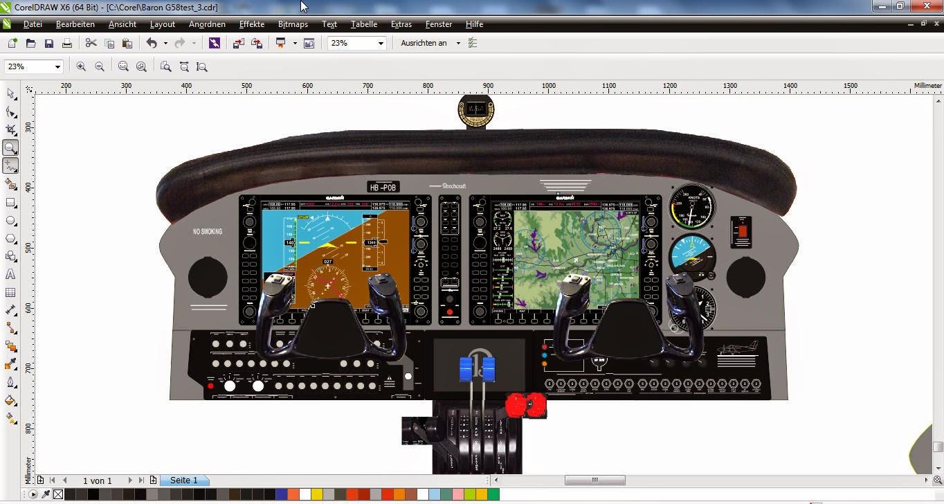 Panel design in Corel Draw | Beech Baron G58 Home Cockpit