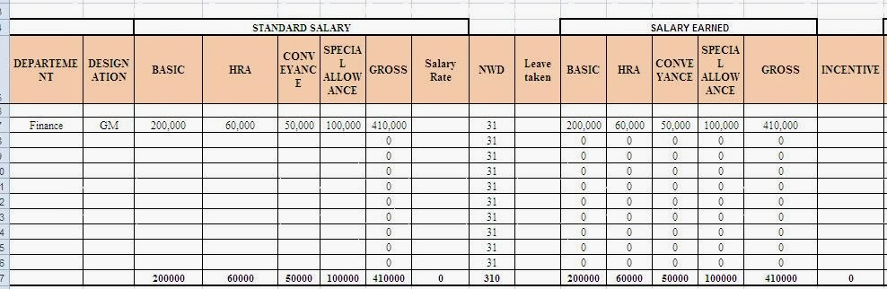Template Formats Form Download free Salary Slip Templates