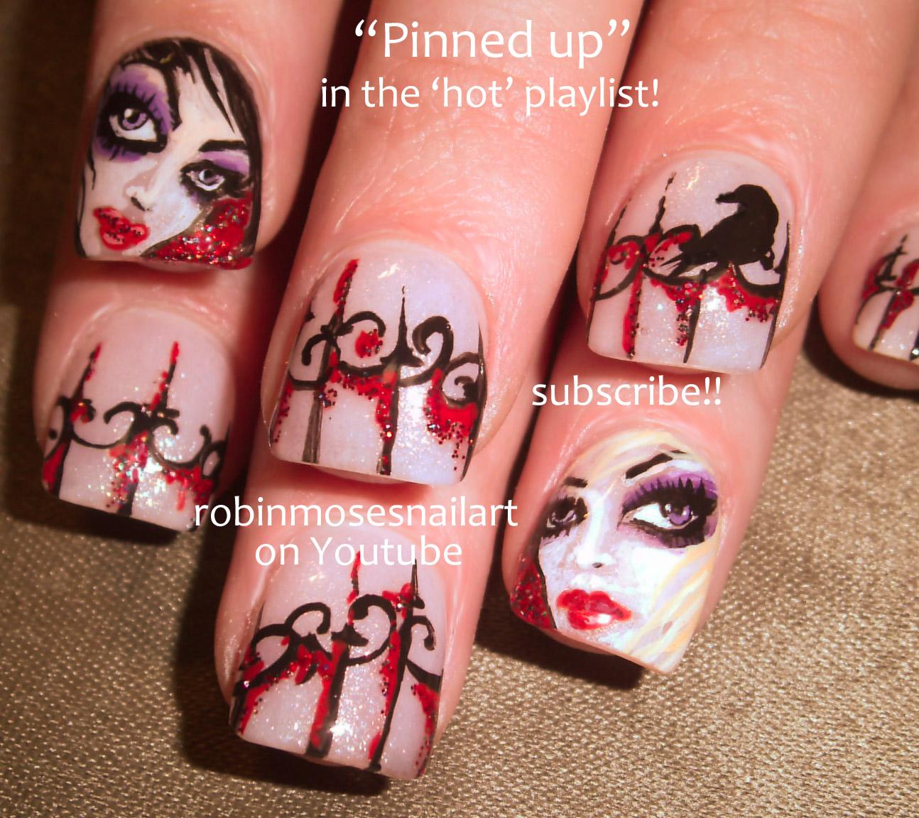 Nail Art By Robin Moses Rockstar Nails Glam Girl Nail Art Glam