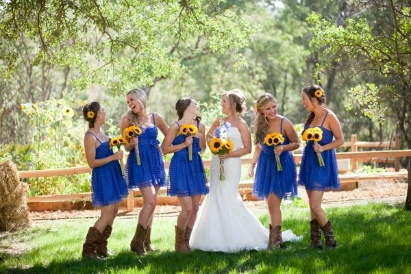 Western Cowboy Boots Over Bridesmaids | bridal and wedding ideas