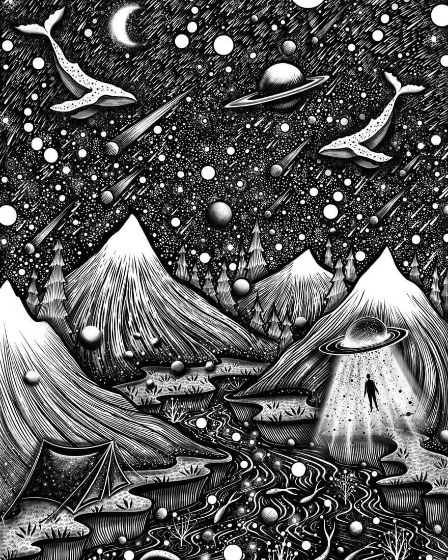 04-Surreal-Wolds-M-Chatzipanagiotou-Surreal-Black-and-White-Ink-Drawings-www-designstack-co