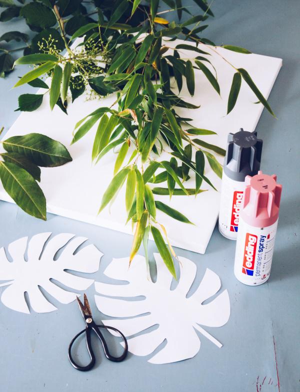 Material für DIY Leinwandkunst im Urban-Jungle-Style – Wandbild als Deko selber basteln by titatoni.de