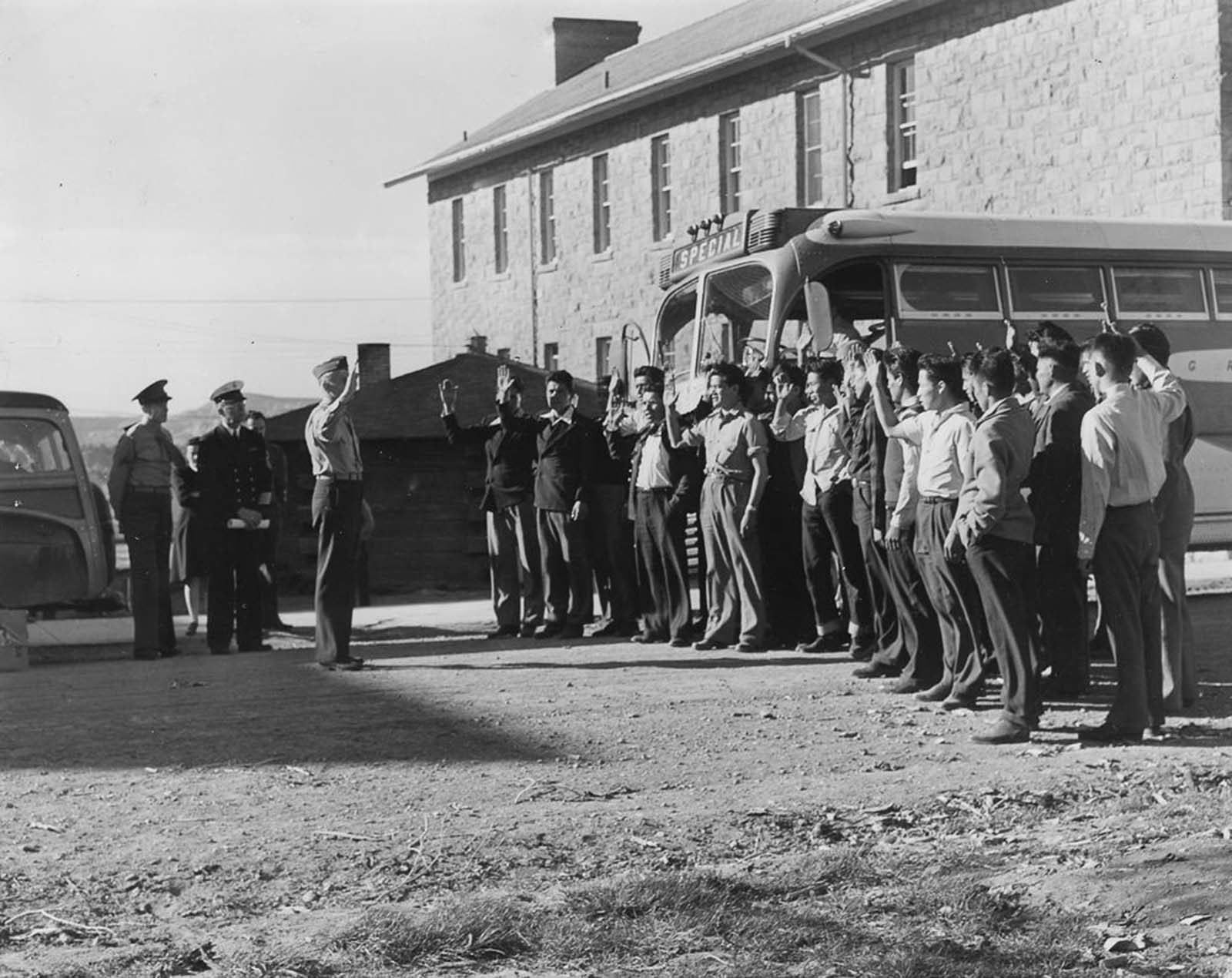 The first 29 Navajo code talker recruits are sworn in at Camp Wingate, New Mexico.