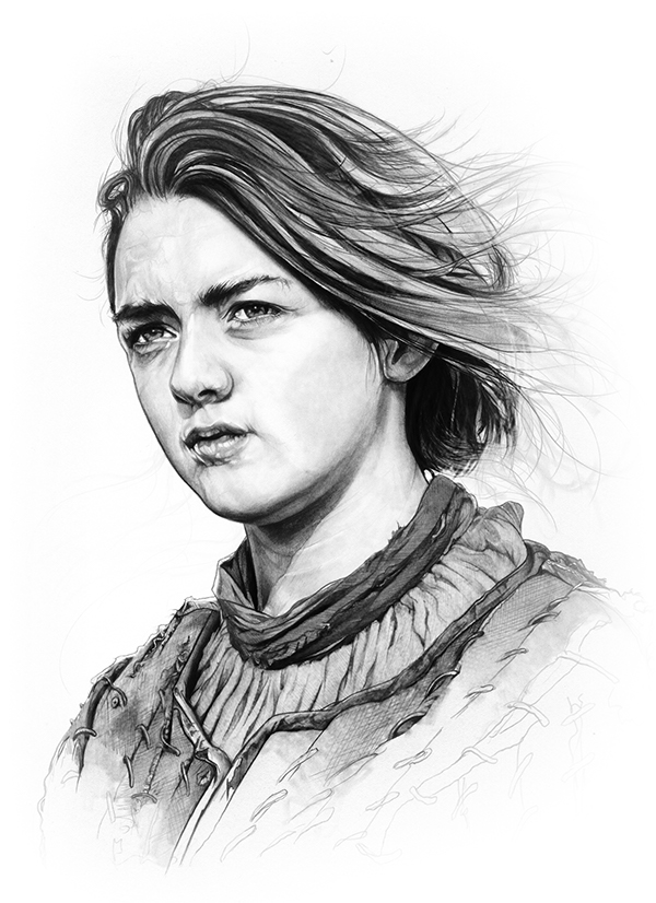 02-Maisie-Williams-Arya-Stark-Corbyn-S-Kern-Game-of-Thrones-Star-Trek-and-Star-Wars-Character-Drawings-www-designstack-co