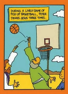 Funny Bible Joke Cartoon Image -  Jesus and disciples playing basketball - During a lively game of pick-up basketball, Peter denies Jesus three times.