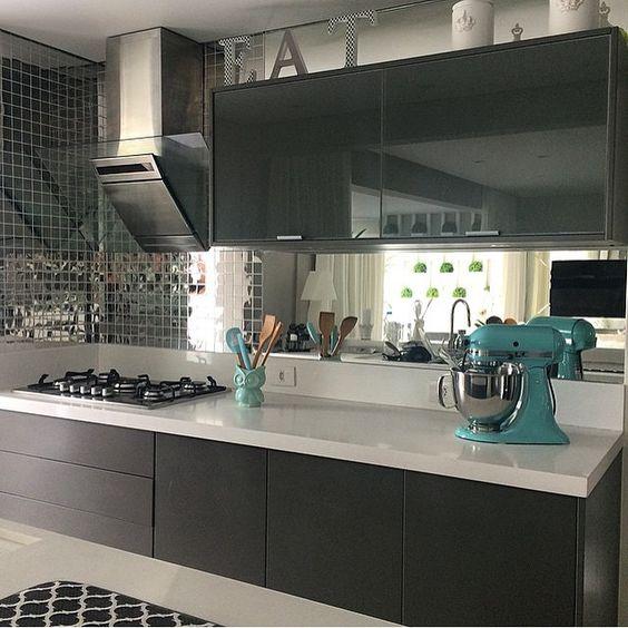 10 Cozinhas cinza!  Jeito de Casa  Blog de Decoração # Armario De Cozinha Cinza E Branco