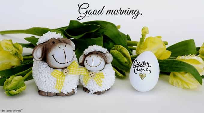 good morning with easter greeting card
