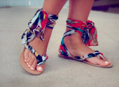 DIY Scarf Ankle Wrap Sandals