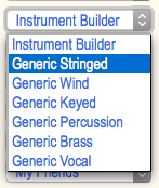 Root menu accessing generic, configurable instrument models